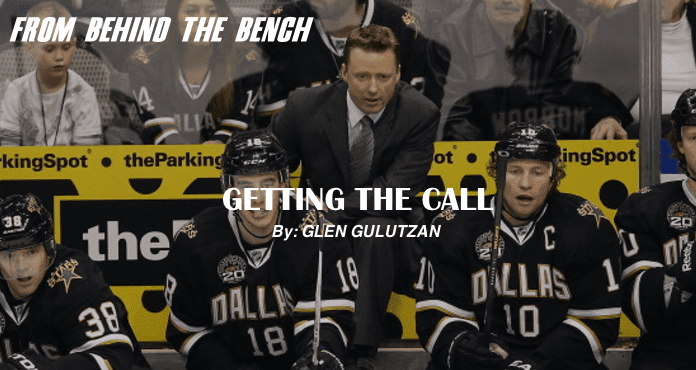 Gulutzan Ice Hockey Coach From Behind the bench getting the call