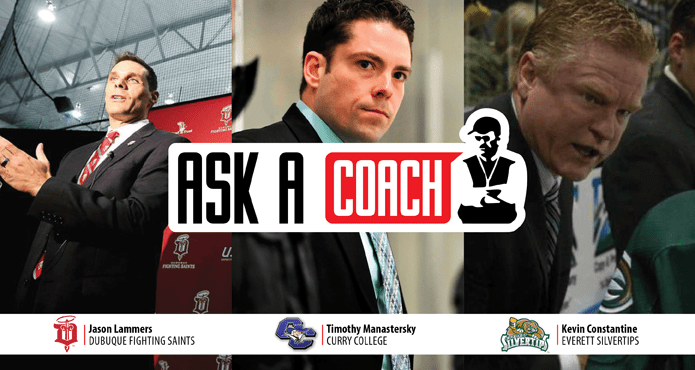 Ask A Coach Ice Hockey Training Prepare Team Practice Tips and Drills Jason Lammers Dubque Fighting Irish TJ Manastersky Curry College Kevin Constantine Everett Silvertips